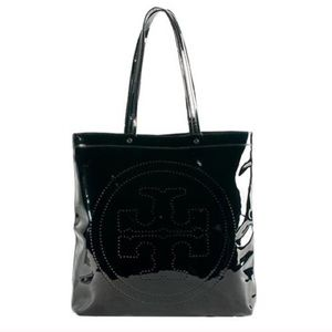 Tory Burch T Patent Leather Shoulder Tote Bag